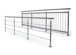 Gelænder i rustfrit stål med stolper (horisontale eller vertikale)